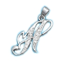 "Sparkling Sterling Silver Script Initial Pendant with Cubic Zirconias - H, with an 18"" chain"