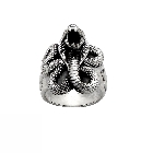 Dramatic Men's Sterling Silver Snake and Fleur-de-Lis Ring, Size 10