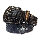 Black Leather Belt in a Crocodile Pattern, Decorated in High Quality Black Crystal Diamond, Size S/M