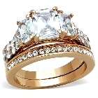 Emerald Cut Cubic Zirconia Rose Gold Plated Engagement Wedding Ring Set, Size 7
