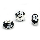 Cheneya Glass Bead in Black with White Flowers